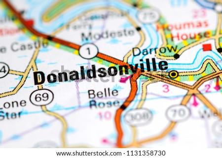 Donaldsonville. Louisiana. USA on a map
