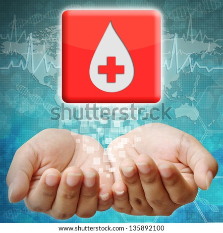 Donate blood icon on hand ,medical background