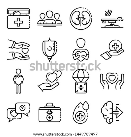 Donate organs icons set. Outline set of donate organs icons for web design isolated on white background