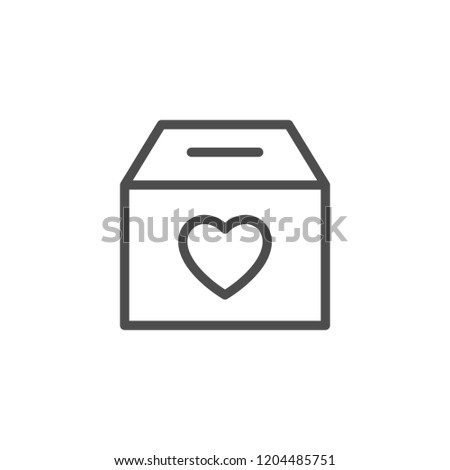 Donation box line icon isolated on white