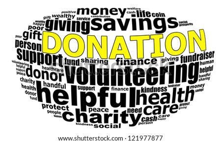 DONATION info text graphics and arrangement concept (word clouds) on white background