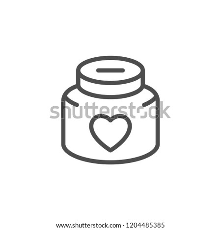 Donation jar line icon isolated on white