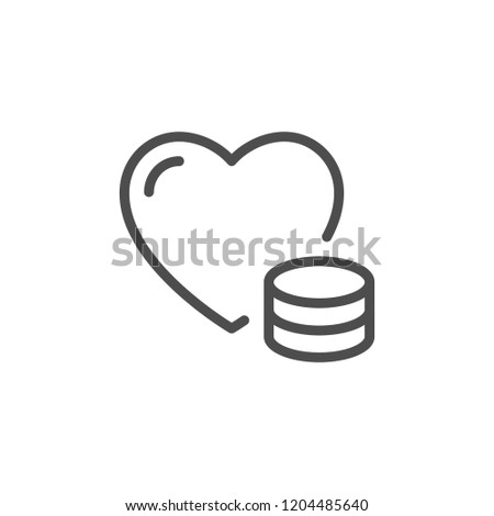 Donation line icon isolated on white