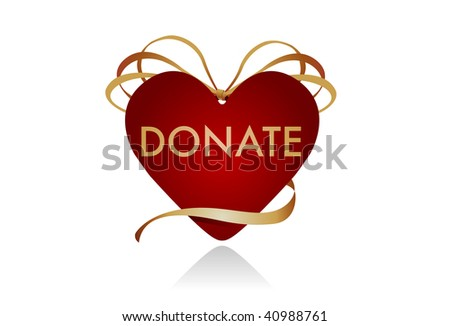 "Donations from the Heart. Gift icon in the shape of a heart. Intended to be used as a symbol for donor gifts. Could work well as a ""donate"" button on a website as well."
