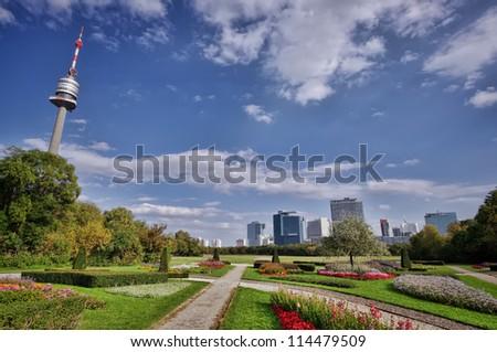 Donau Park, Vienna modern city. Austria - stock photo