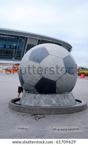 DONBASS-ARENA, DONETSK, UKRAINE - SEPT 25: Shakhtar Donetsk's new soccer stadium September 25, 2010 in Donetsk, Ukraine. 28-ton stone ball in diameter more than 2,7 metres.