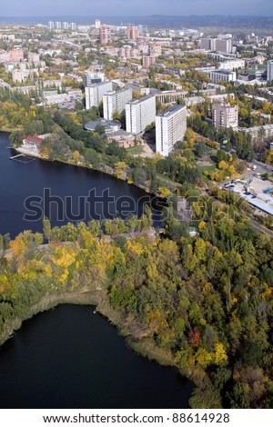 Donetsk city - aerial view.