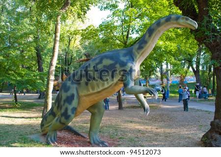"""DONETSK, UKRAINE - AUGUST 26: Exhibition """"World of dinosaurs"""", Allosaurus, park of A.S.Cherbakova. August 26, 2011 in Donetsk, Ukraine"""