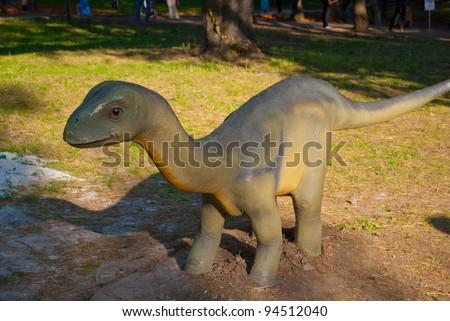 """DONETSK, UKRAINE - AUGUST 26: Exhibition """"World of dinosaurs"""", Torosaurus, park of A.S.Cherbakova. August 26, 2011 in Donetsk, Ukraine"""