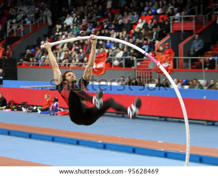 DONETSK,UKRAINE-FEB.11: BRAD WALKER - World Champion compete in the pole vault competition with the result 5.62 on Samsung Pole Vault Stars meeting on February 11, 2012 in Donetsk, Ukraine.