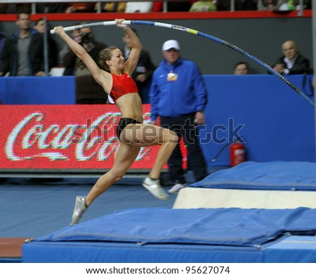DONETSK,UKRAINE-FEB.11: Hutson Kylie - american pole vaulter compete in the pole vault competition with the result 4.50 on Samsung Pole Vault Stars meeting on February 11, 2012 in Donetsk, Ukraine.