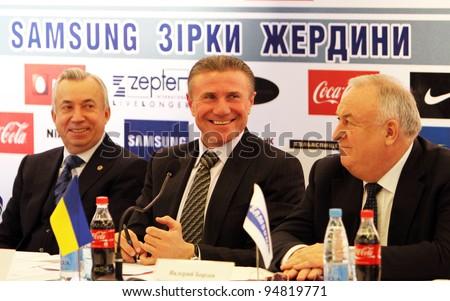 DONETSK, UKRAINE - FEB. 10: (L-R) Aleksandr Lukianchenko, Sergey Bubka, Valery Borzov on the press conference before Samsung Pole Vault Stars meeting on February 10, 2012 in Donetsk, Ukraine.
