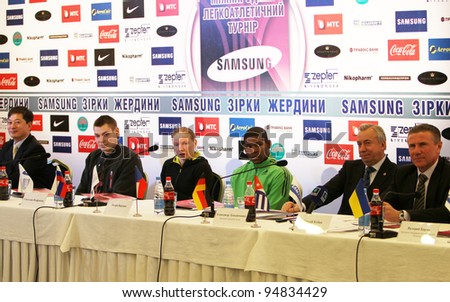 DONETSK,UKRAINE-FEB.10:(L-R)Park Ung Chul, Wojciechowski Pawel, Feofanova Svetlana, Borges Lázaro, Aleksandr Lukianchenko, Sergey Bubka on the press conference on February 10, 2012 in Donetsk, Ukraine