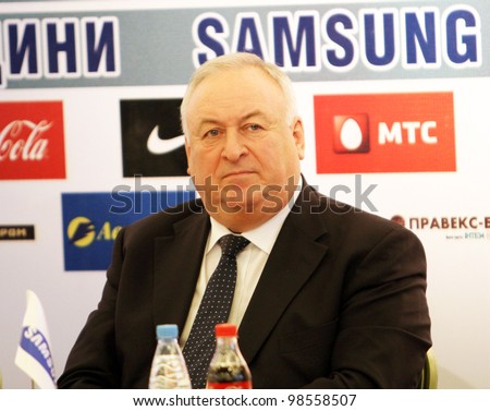 DONETSK, UKRAINE - FEB. 10: Valery Borzov - Double Olympic champion on sprint in Munich 1972, on the press conference before Samsung Pole Vault Stars meeting on February 10, 2012 in Donetsk, Ukraine.