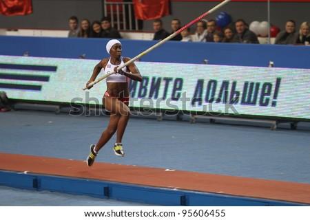 DONETSK,UKRAINE-FEB.11: Yarisley Silva - Cuban pole vaulter wins second place in the pole vault competition on Samsung Pole Vault Stars meeting on February 11, 2012 in Donetsk, Ukraine.