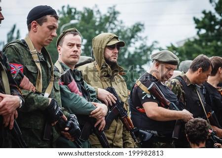 DONETSK, UKRAINE - JUNE 21: Konstantin Kuzmin, First Deputy Coal Minister of the Donetsk People�¢??s Republic, taking the oath during ceremony on june 21, 2014 in Donetsk. #199982813