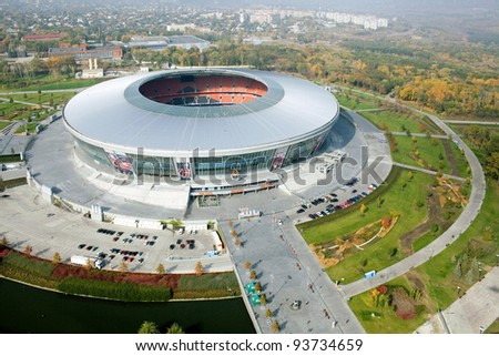 "DONETSK, UKRAINE - OCTOBER 11 - ""DONBAS ARENA"" soccer stadium in Donetsk by aerial view. The stadium will host matches of UEFA Euro 2012. Donetsk, October 11, 2011."