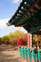 Dongtan city parks during autumn colored leaf season. Small local oriental structure in the park to come at ease with nature. Located near a pond which isn't filled at the moment.