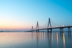 dongting lake bridge in sunset,  yueyang, hunan province, China