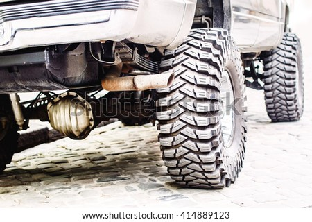 Donk car with a suspension lift Stock photo ©