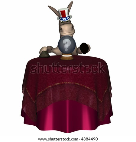 Donkey gazing into a crystal ball looking for his future and fortune.  Isolated on a white background. Democrat. Political humor.