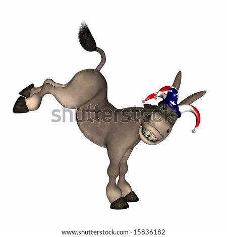 Donkey kicking up his legs wearing a red, white and blue jester cap. Democrat. Political humor.