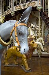 Donkey, Lion and Horse on Fairground Carousel
