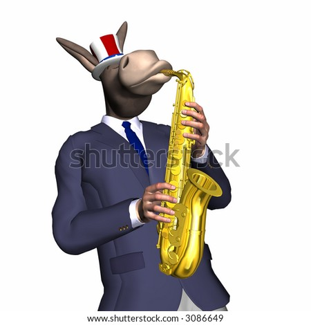Donkey playing the saxophone.  Isolated on a white background. Democrat.  Political humor