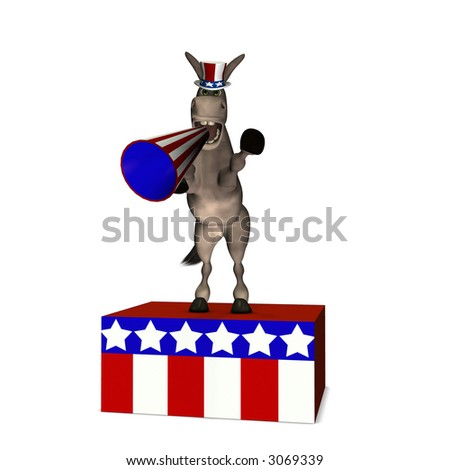 Donkey standing on a platform speaking through a megaphone. Democrat. Political humor.