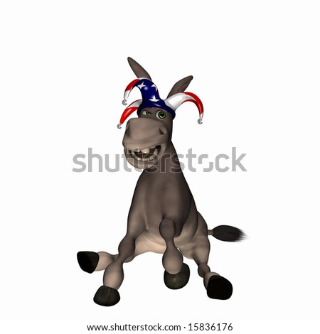 Donkey wearing a red, white and blue jester cap. Democrat. Political humor.