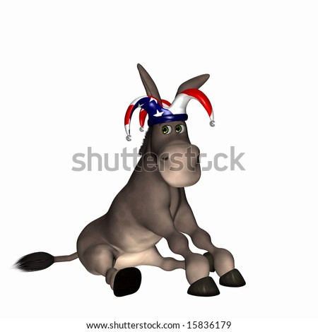 Donkey wearing a red, white and blue jester cap. Democrat. Political humor. - stock photo