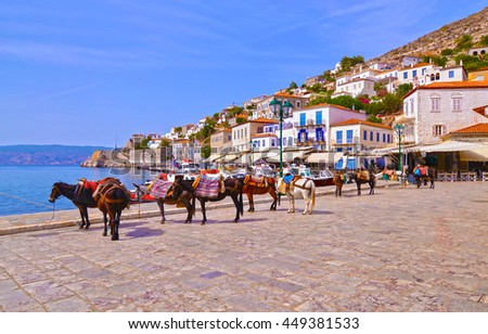 donkeys the means of transport at Hydra island Saronic Gulf Greece Foto stock ©
