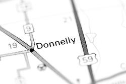 Donnelly. Minnesota. USA on a map