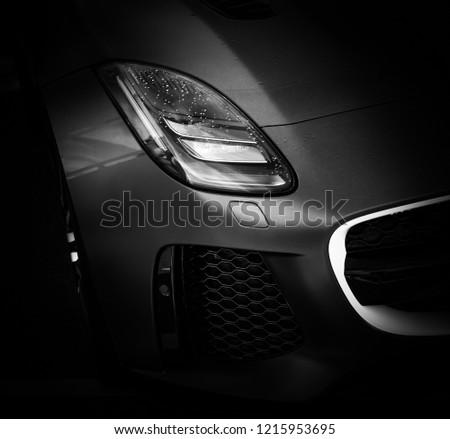 Donnington, Leicestershire / United Kingdom - September 23, 2018: Jaguar F-Type front headlight  #1215953695