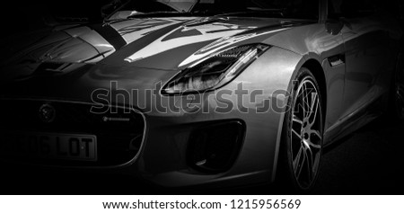 Donnington, Leicestershire / United Kingdom - September 23, 2018: Jaguar F-Type front light #1215956569