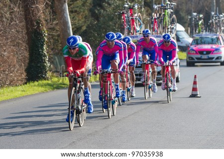 DONORATICO, LIVORNO, ITALY - MARCH 07: Team Lampre - ISD during the 1st Team Time Trial stage of 2012 Tirreno-Adriatico on March 07, 2012 in Donoratico, Livorno, Italy