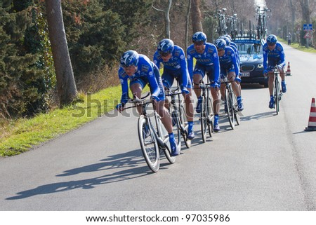 DONORATICO, LIVORNO, ITALY - MARCH 07: Team Saxo Bank during the 1st Team Time Trial stage of 2012 Tirreno-Adriatico on March 07, 2012 in Donoratico, Livorno, Italy