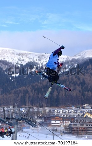 DONOVALY, SLOVAKIA - JANUARY 29: Racer of Slovak republic participates in the Big air January 29, 2011 in Donovaly, Slovakia.