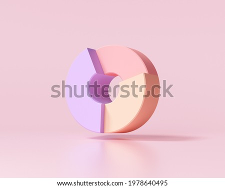 Donut chart on pink background. 3d render illustration.