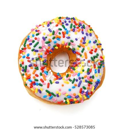 Donut isolated on white background.