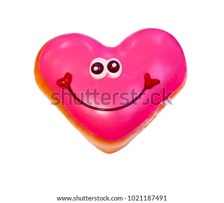 donut love valentine white background clipping paths #1021187491