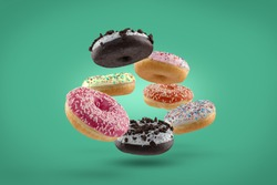 Donut mix on simple background