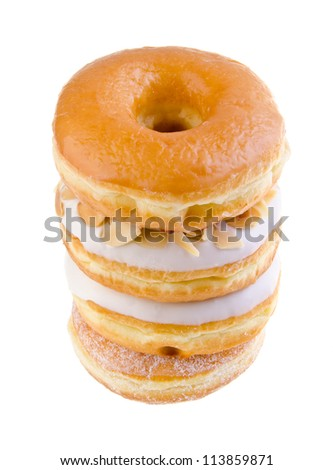 donut, sweet donut with sugar isolated on white background