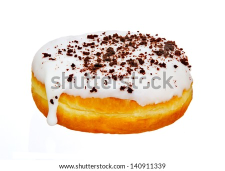 Donut with Chocolate Crumb Topping Isolated on White Background