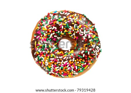Donut with Chocolate Icing and Sprinkles Isolated on a White Background