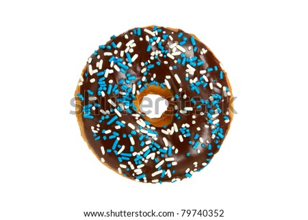 Donut with Chocolate Icing and Sprinkles Isolated on a White Background - stock photo