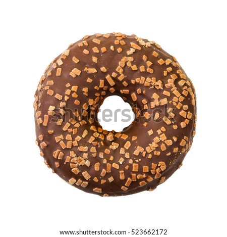 Donut with chocolate icing and sprinkles isolated on white background. Top view.