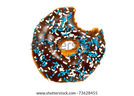 Donut with Chocolate Icing, Sprinkles, and Bite Missing Isolated on a White Background