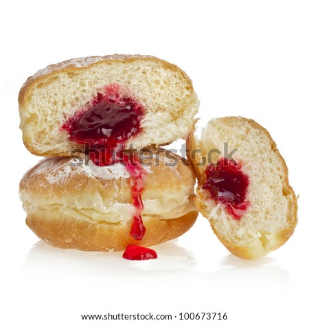 Donut with jam isolated on white background