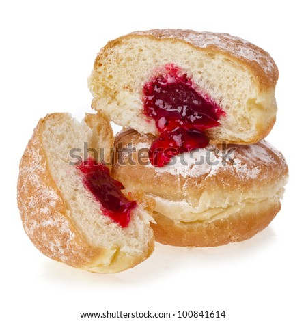 Donut with jam on white background - stock photo